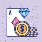 animerad bild, Ess, spelamark och blå diamant