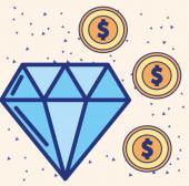 animerad bild med diamant och 3 spelamarker
