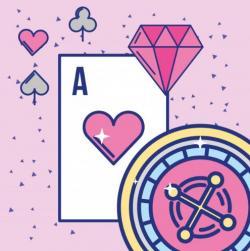 animerad bild, Ess, spelamark och rosa diamant