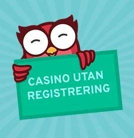 """En uggla som håller i ett plakat med texten """"Casino utan registrering."""""""